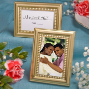 Beaded Design Gold Place Card Photo Frames