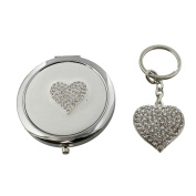 Sophia Silver Plated Key Ring And Compact Mirror Set Heart