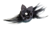 Flower And Feather Clip Pin Black