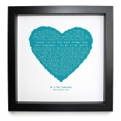 Style Council, You're The Best Thing, HEART SHAPED ROMANTIC PERSONALISED PRINT Framed in a 23 x 23 cm Boxed Frame