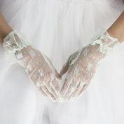 ZLYAYA gloves,Bride wedding gloves short paragraph lace Korean wedding green blue powder black rice red and white special summer fashion thin