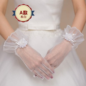 ZLYAYA gloves,Lace Bride Wedding Gloves Red Holes Long and Short Marriage Men 's Gloves Simple Spring and Autumn Winter