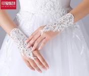 ZLYAYA gloves,Bride wedding gloves wedding accessories wedding gloves lace straps short paragraph white exposed diamond gloves accessories
