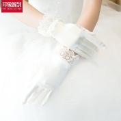 ZLYAYA gloves,Bride Gloves Stretch Satin Wedding Lace White Wedding Accessories Bridal Gloves