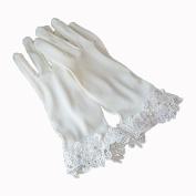 ZLYAYA gloves,Japan and South Korea lace white wedding bridal gloves short section Korean stretch satin wedding gloves wedding accessories
