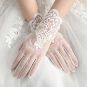 ZLYAYA gloves,Summer rice white short paragraph wedding gloves bride wedding lace finger gloves spring and autumn
