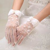 ZLYAYA gloves,Bridal Gloves Fall Wedding White Lace Chiffon Short Wedding Dresses Wedding Accessories