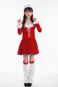 Women's Xmas Dresses Christmas Party Costume Cute Santa Claus Costume Red Stage Performance Clothing Including Dress Hat Wrist Decor 2 Legs Decor 2
