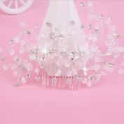 Bride headdress pearl rhinestones white hair comb wedding dress accessories comb