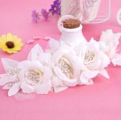 Bridal Headdress Alloy Fabric White Flower Head Flower Wedding Headdress Accessories