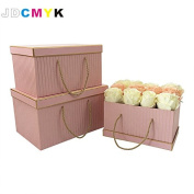3pcs/Set very bis size rectangle shape florist packing flowers gift box ,gold line wedding decoration party favours coffret gift boxes