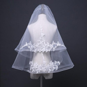 Wedding Veil 60-85cm European Style Simple Lace Three-Dimensional Flowers Double With a Comb Wedding Accessories Veil