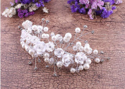 KHSKX-White Wedding Bride Headdress Headdress Flower Korean Pearl Diamond Wedding Accessories Handmade Jewellery Ornaments