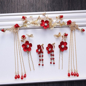 KHSKX-_ Bride Bride Headdress Costume Gold Hairpin Tassel Red Flowers Wedding Dress Accessories