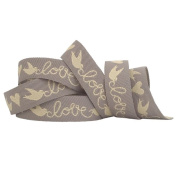 Love Birds Ribbon 1m Length Wedding Craft Favours Cream and Grey