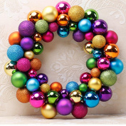 Xshuai Merry Christmas 55 Balls Wreath Door Wall Hanging Ornament Garland Decoration for Christmas Tree Holiday Wedding Garden Party Xmas