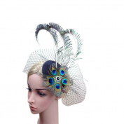 Bobury Women Peacock Eye Peacock Feather Style Bride Veil Hat Prom Party Headdress