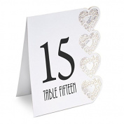 Heart Design Table Numbers 115 White