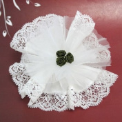 12 x White Crystal And Laced Edge Ready Made Favour With 3 Green Ribbon Roses