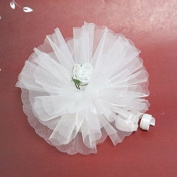12 x White Crystal Ready Made Favour With White Organza Flower