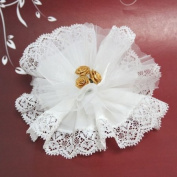 12 x White Crystal And Laced Edge Ready Made Favour With 3 Gold Ribbon Roses