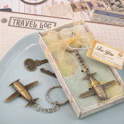 Vintage Aeroplane Design All Metal Keychain in Antique Brass Colour Finish