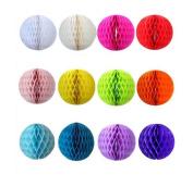 Syndecho 12pcs 20cm Tissue Paper Pom Poms Honeycomb Balls for Wedding Birthday Party Shower Home Decoration