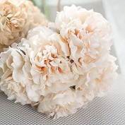 Pinzhi Artificial Bouquet Peony 5 Heads Silk Flower Fake Leaf Home Wedding Party Decor
