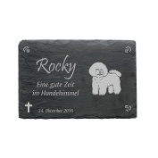 "'""Bichon Frise Slate Plaque – Approximately 22 x 16 cm – Waterproof Engraving"