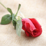 Artificial Flowers 10Pcs Silk Emulation Flower Flowers Roses Wedding Party Christmas Decoration Valentine'S Day Gifts, Dark Red