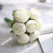 Artificial Flowers 2Pcs A Faux Flower Hand Bouquets Wedding Party Flowers Christmas Decoration Artificial Flower, White