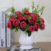 Artificial Flowers 5Pcs Emulation Flowers Flower Bouquets Wedding Party Christmas Decorations, Red
