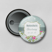 Shabby Chic Christening Green (5.8cm) Personalised Pin Badge Printed in Hi-RES Photo Quality