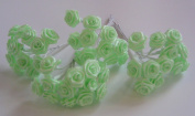48 MINT GREEN Wired Ribbon Roses Wedding Favours decoration craft card making