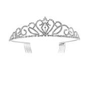 Chinget Crown Headband Artificial Crystal Rhinestone Hair Clip for Wedding Party Bridal