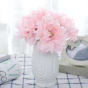 5-Ct Bundle Artificial Pink Peony Flower for Wedding Bouquet Bride Posy Girl Nursery Garden Home Craft Decoration