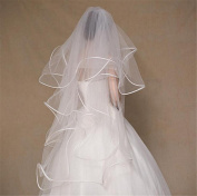 XY-QXZB Wedding Veil 1 m 4-Layer Head Yarn Europe And The United States Bride Wedding Veil Rice White Studio Photo Ultra Soft Lock Edge Veil