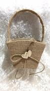 YBC Flower Girl Basket Romantic Handle Royal Satin Wedding Ceremony Basket with Bowknot Rose Bow Cream Diamonds Pearl Bead