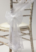 White Embroidered Lux Voile Sashes / Table Runners Wedding Chair Decor Events