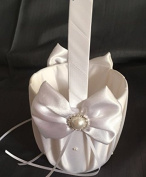 YBC Flower Girl Basket Romantic Handle Royal Satin Wedding Ceremony Basket with Bowknot Rose Bow Cream Diamonds Pearl Bead