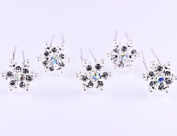 ZCSMg 8pcs Snowflake Pearl Rhinestone Hair Clips Bride Headpiece Bobby Hair Pins for Wedding