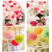 (10pcs/lot) Handmade Size 15cm 20cm 25cm Tissue Paper Pom Poms Paper Flower Ball Pompom For Home Garden Wedding Birthday Decoration
