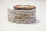 Eleganza Floral Lace Natural Hessian Ribbon 50mm x 5yds Vintage Rustic Decor