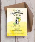 Personalised Gin & Tonic Wedding Anniversary Invitations with Envelopes