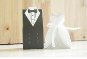 ZCSMg Approx.50 Pairs Creative Bride Groom Candy Box for Wedding Gift Supplies