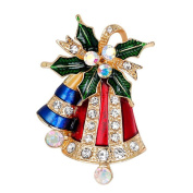 WeiMay Fashion Rhinestone Christmas Bell Brooch Pin Jingle Bell Wedding Bridal Dress Scarves Shawl Clip for Women Ladies Jewellery Love Gift Decorations Ornaments,1pcs