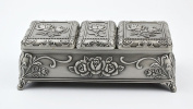 Vintage Tin Jewellery Box Jewellery Casket Antique Chest Tin Treasure Box Embossed Rose Trinket Russia Souvenir Gift for Her