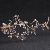 Bride headdress alloy crystal pearl hair clip gold foliage retro hairpin wedding dress jewellery hairpin