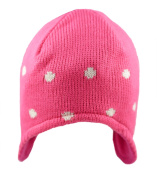 Baby Girls Beanie Hat Winter Warm Knitted Fleece Lined Pink White 0-3, 3-6 Months