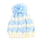 Newborn Kids Boys Girls Cute & Fashionable Winter Warm Beanie Pom Pom Bobble Hats - Blue